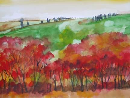 2008-paesaggio toscano con alberi rossi