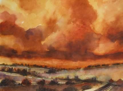 2011-paesaggio con cielo rosso