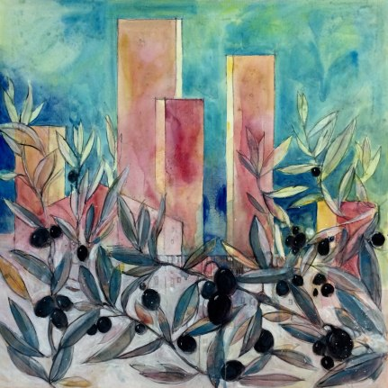 acrylic watercolours on canvas cm 60x60