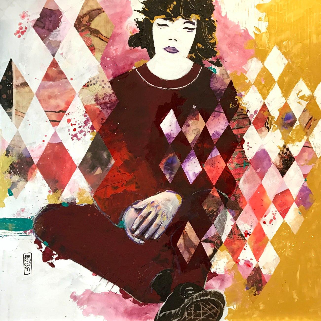 Acrylics and collage on forex board Acrilici e collage su pannello 65x65 cm