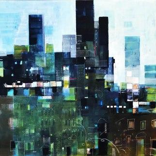 Acrilici e collage su tela Acrylics and collage on canvas 70x70 cm 2017
